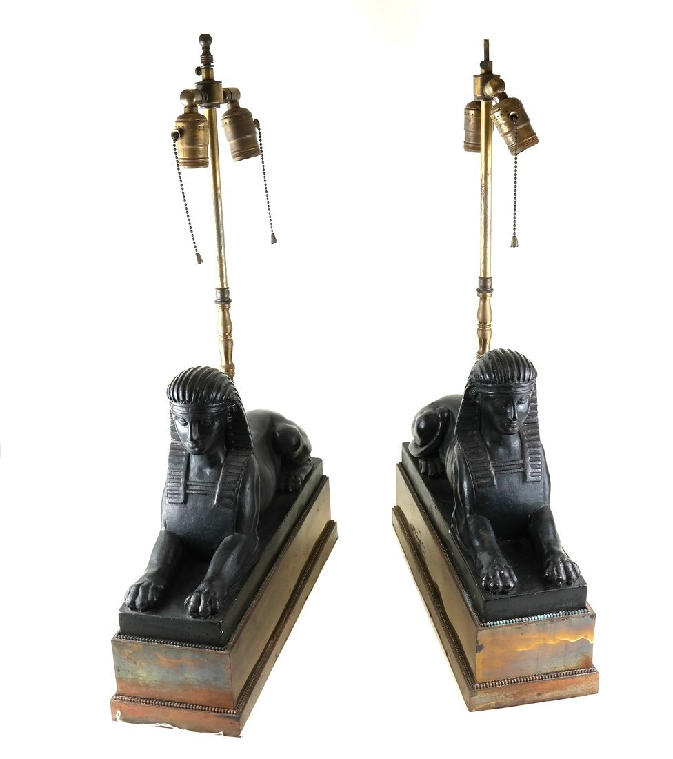 Pair of Sphinx Form Lamps