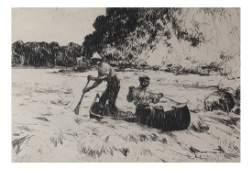 Frank Benson Running the Rapids, Etching