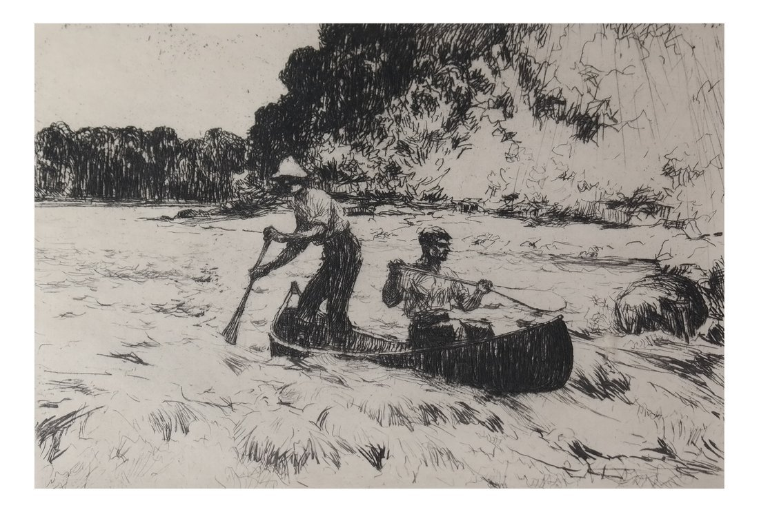 Frank Benson Running the Rapids, Etching