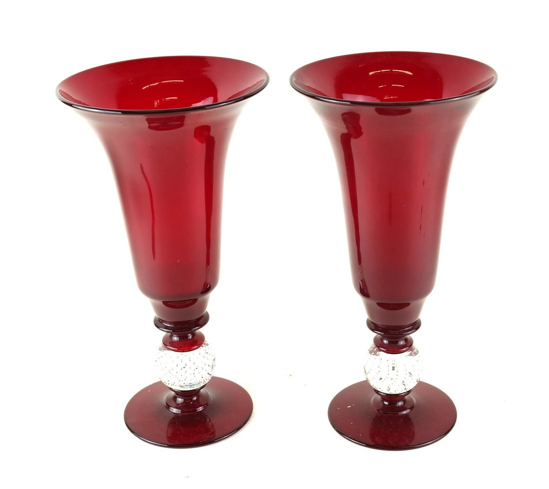 Pair of Cranberry Glass Vases
