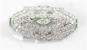 Diamond & Emerald Platinum Brooch