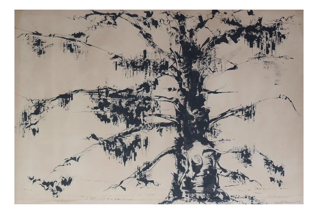 Edmund L. Niemann, Tree - Watercolor