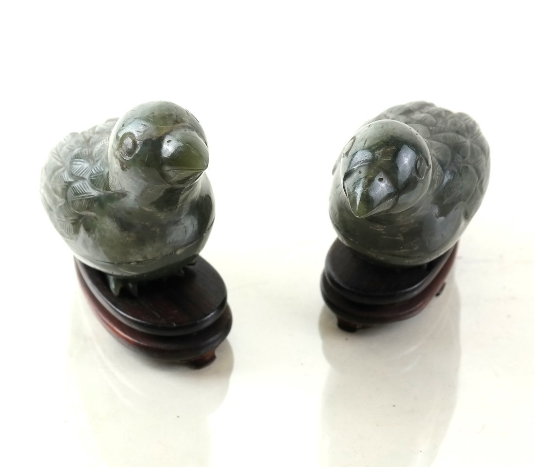 Pair Chinese Carved Jade Bird-Form Boxes