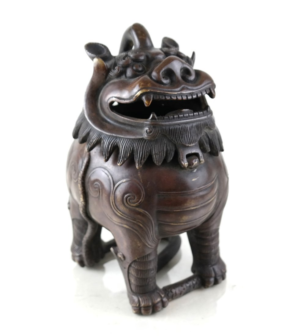 Chinese Bronze Foo Lion Incense Burner
