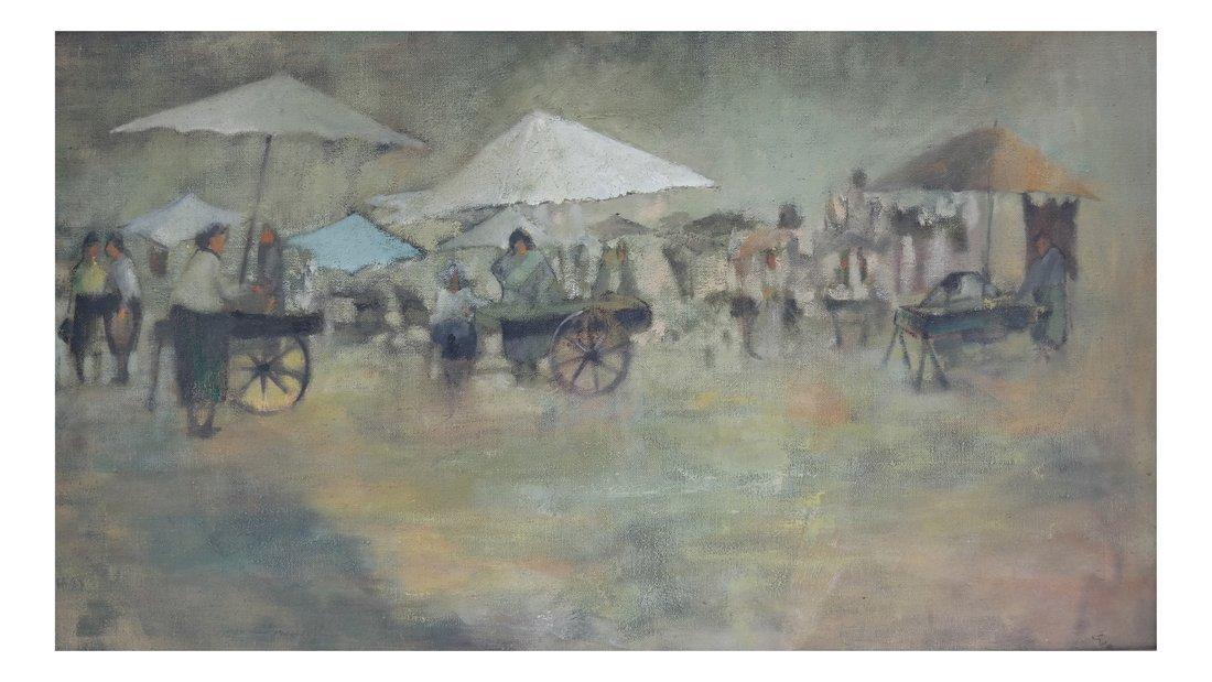 Leonard Creo, Marketplace, Oil on Canvas