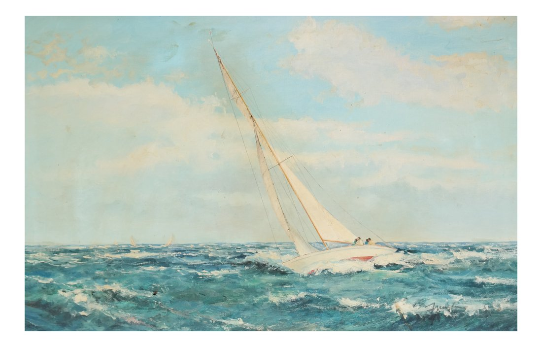 Oil on Canvas, Racing Sailboat