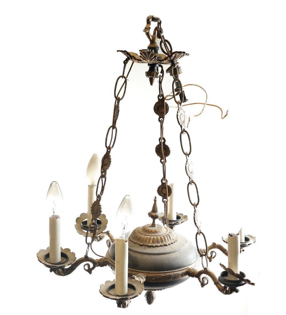 Empire Style Bronze Six-Light Chandelier