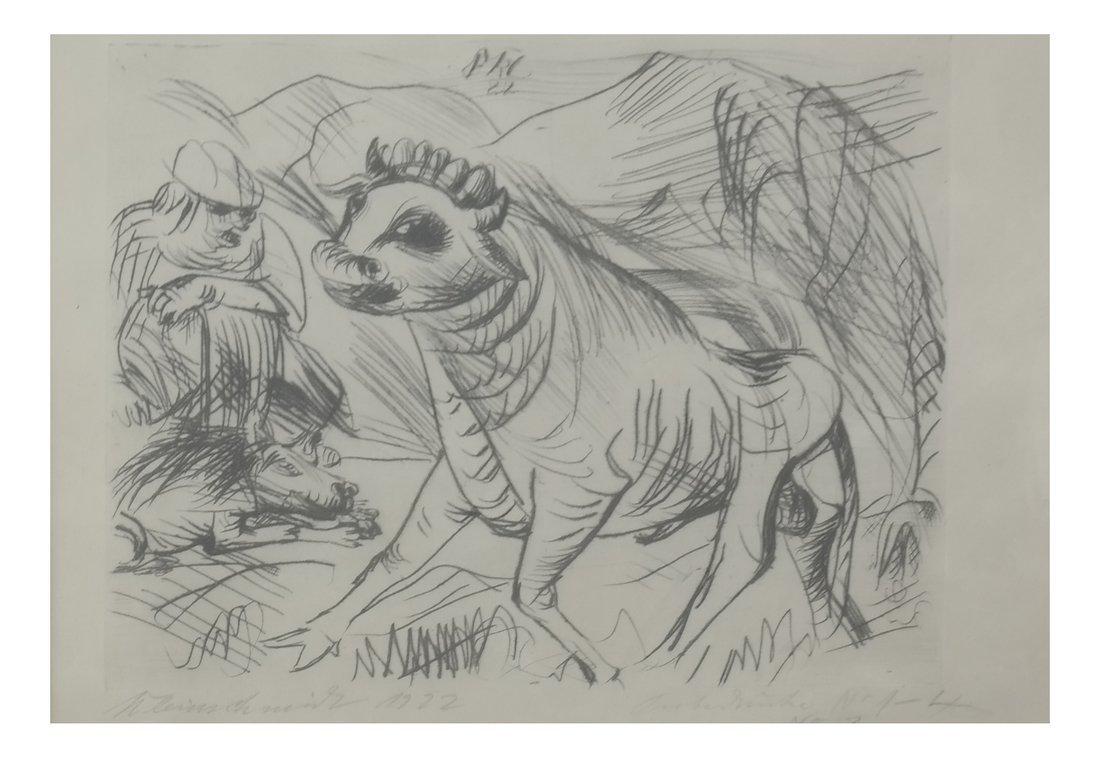 Framed Drawing of A Bull