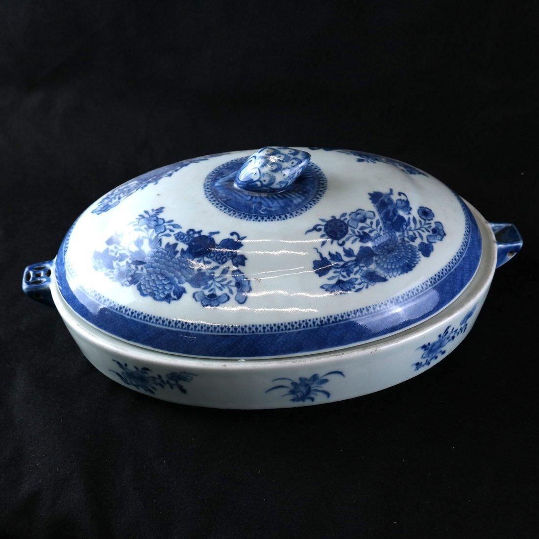 Chinese Export Blue/White Hot Water Dish