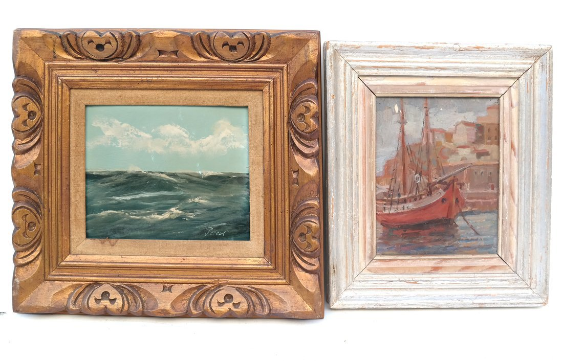 Two Works: Ocean & Harbor Scene