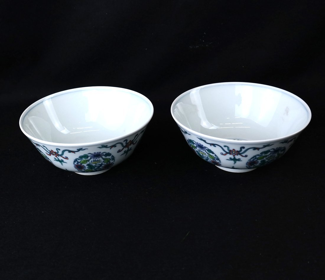 Two Chinese Famille Vert Porcelain Bowls