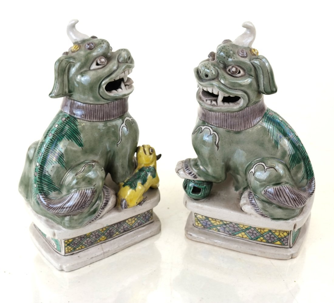 Pair Chinese Porcelain Seated Foo Lions