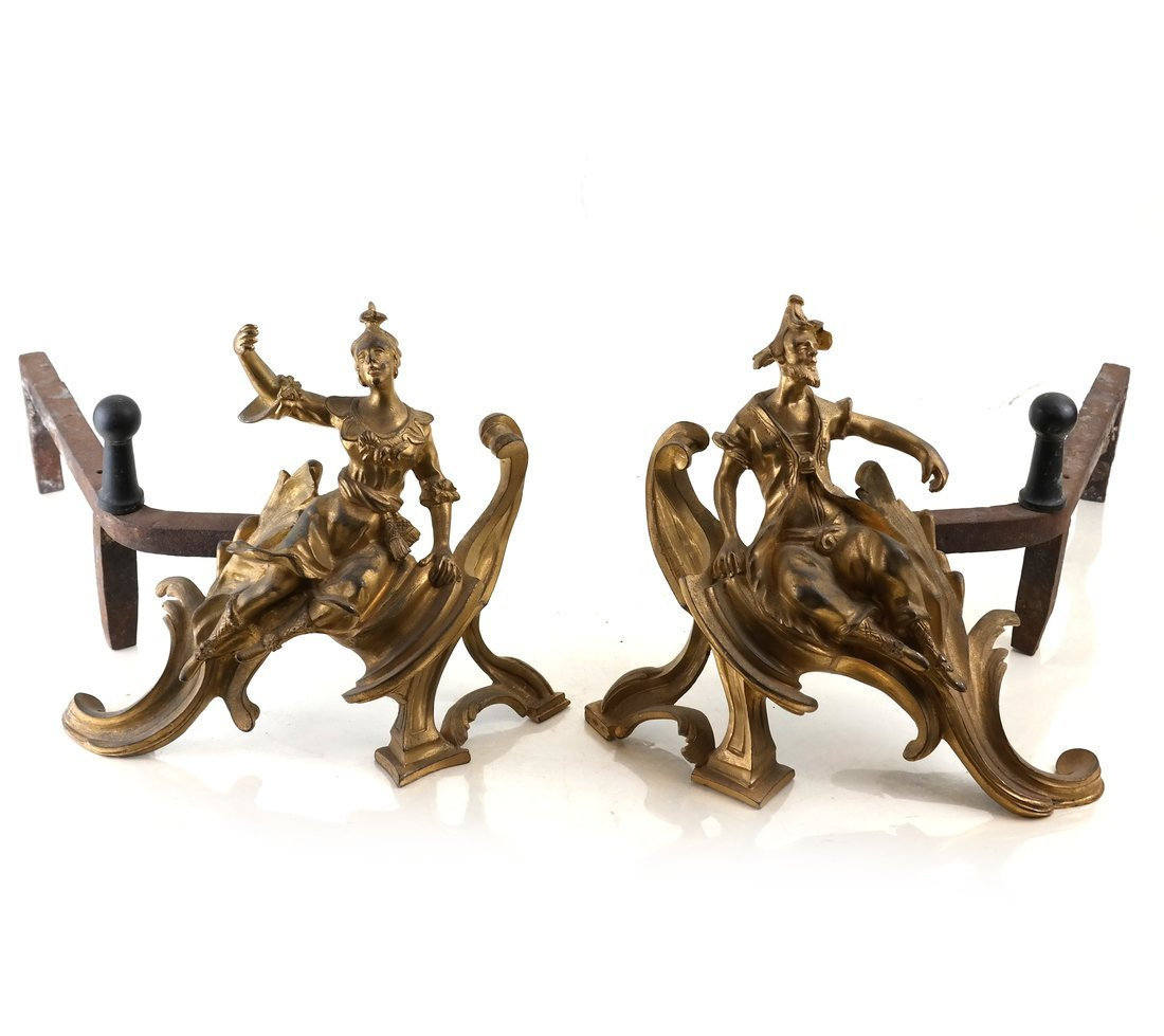 Pair Louis XV Style Gilt Bronze Chenets