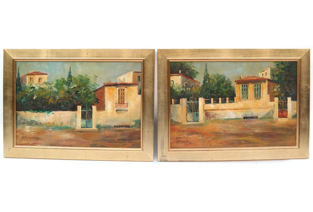 A. Neulladios, Two House Scenes, O/B