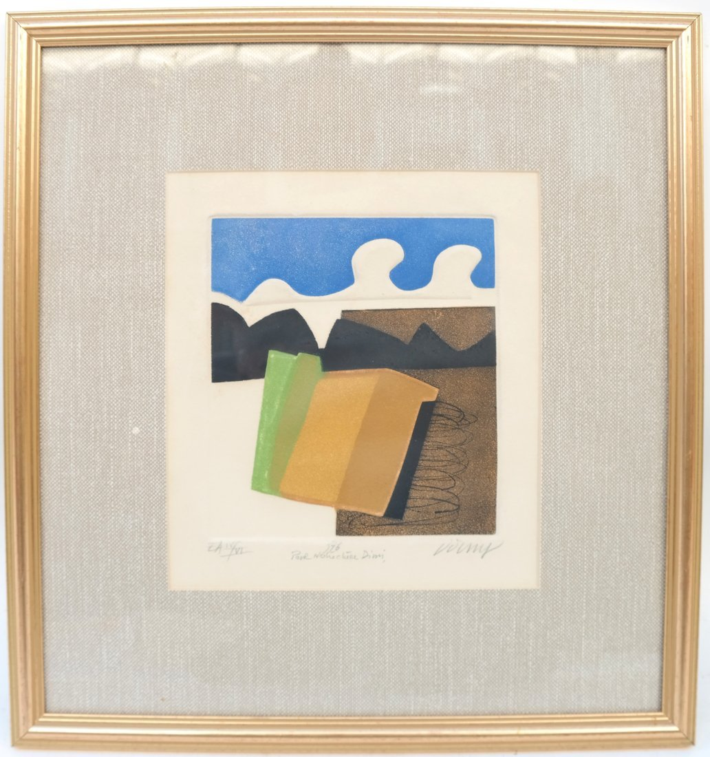 Framed Abstract Lithograph