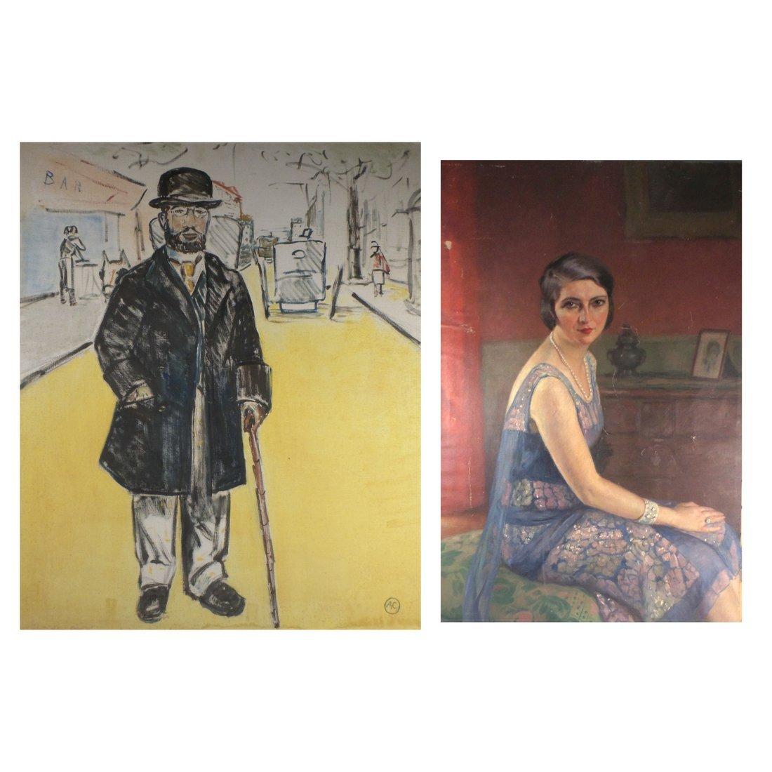 Two Unframed Portraits, O/C