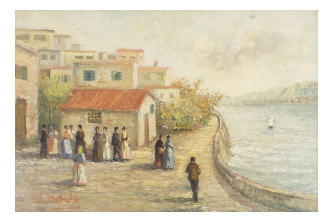 S. Natullo, Coastal Scene, Oil on Canvas