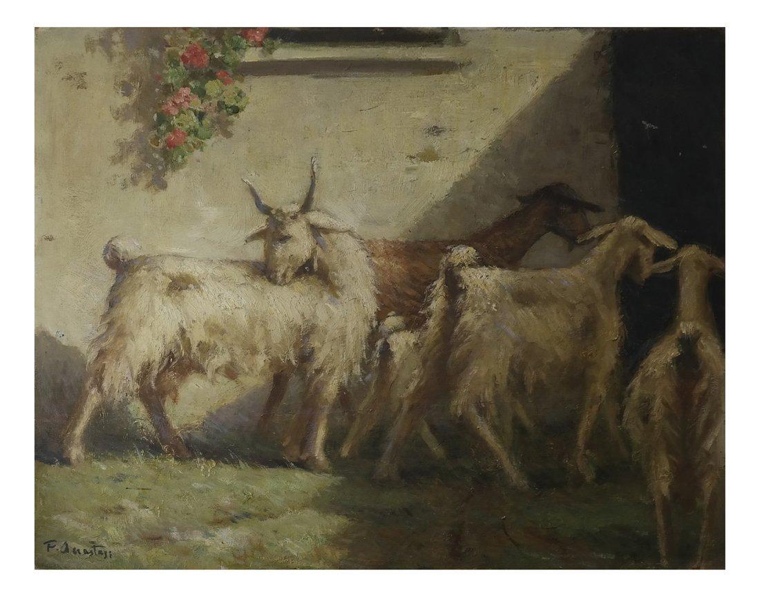 Goats Entering Their Barn, Oil on Board