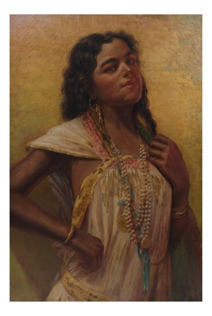 Portrait of Exotic Lady, Oil on Canvas