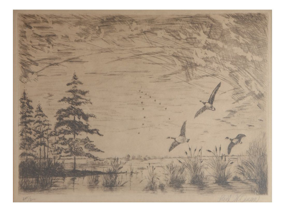 Frank. W. Benson, Ducks In Flight Litho