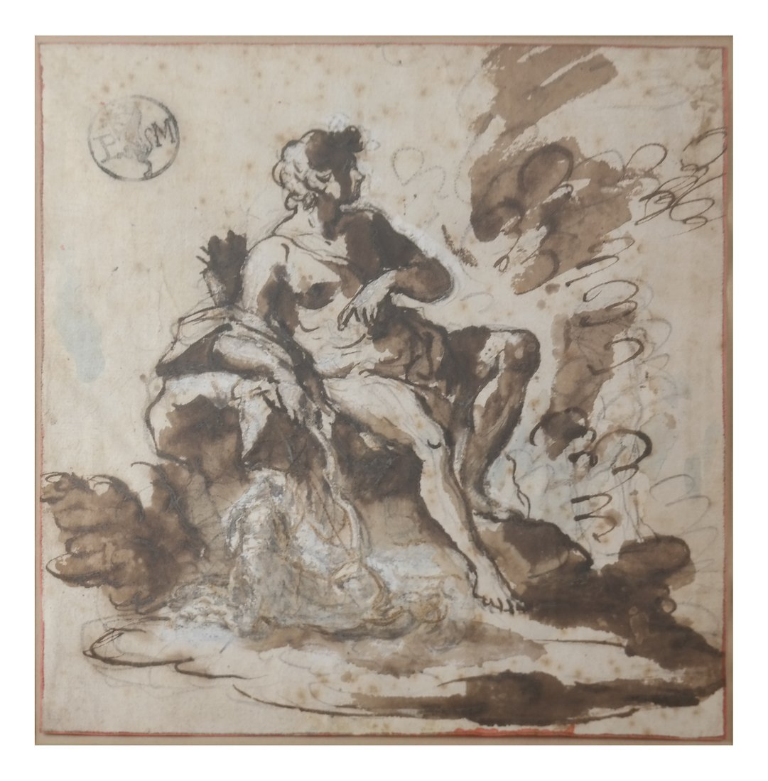A Woman On A Rock, Gouache Ink
