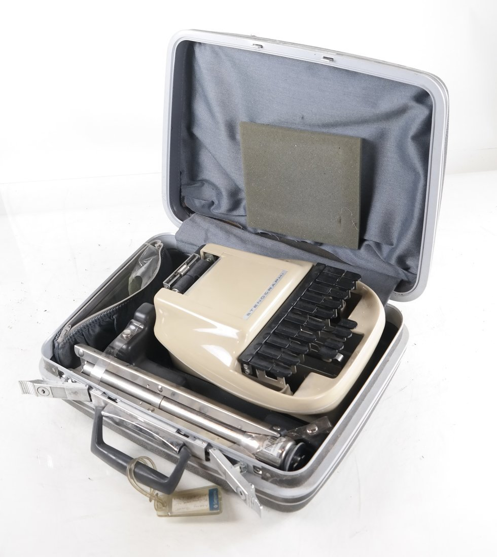 Stenography Machine with Case and Stand