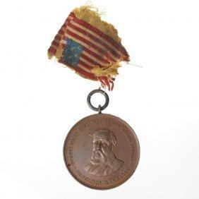Benjamin Harrison Inaugural Chief Marshal Badge, 1889.