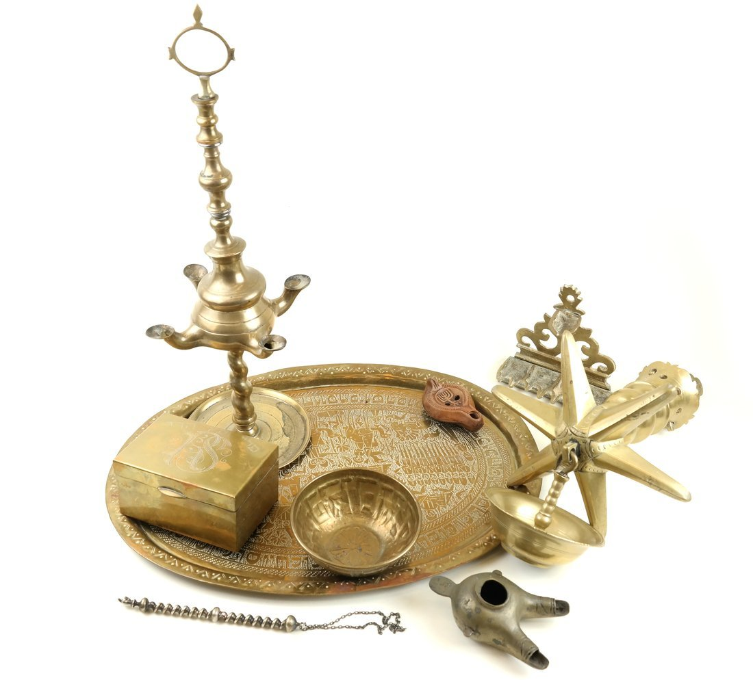 Eight Brass Judaic Items