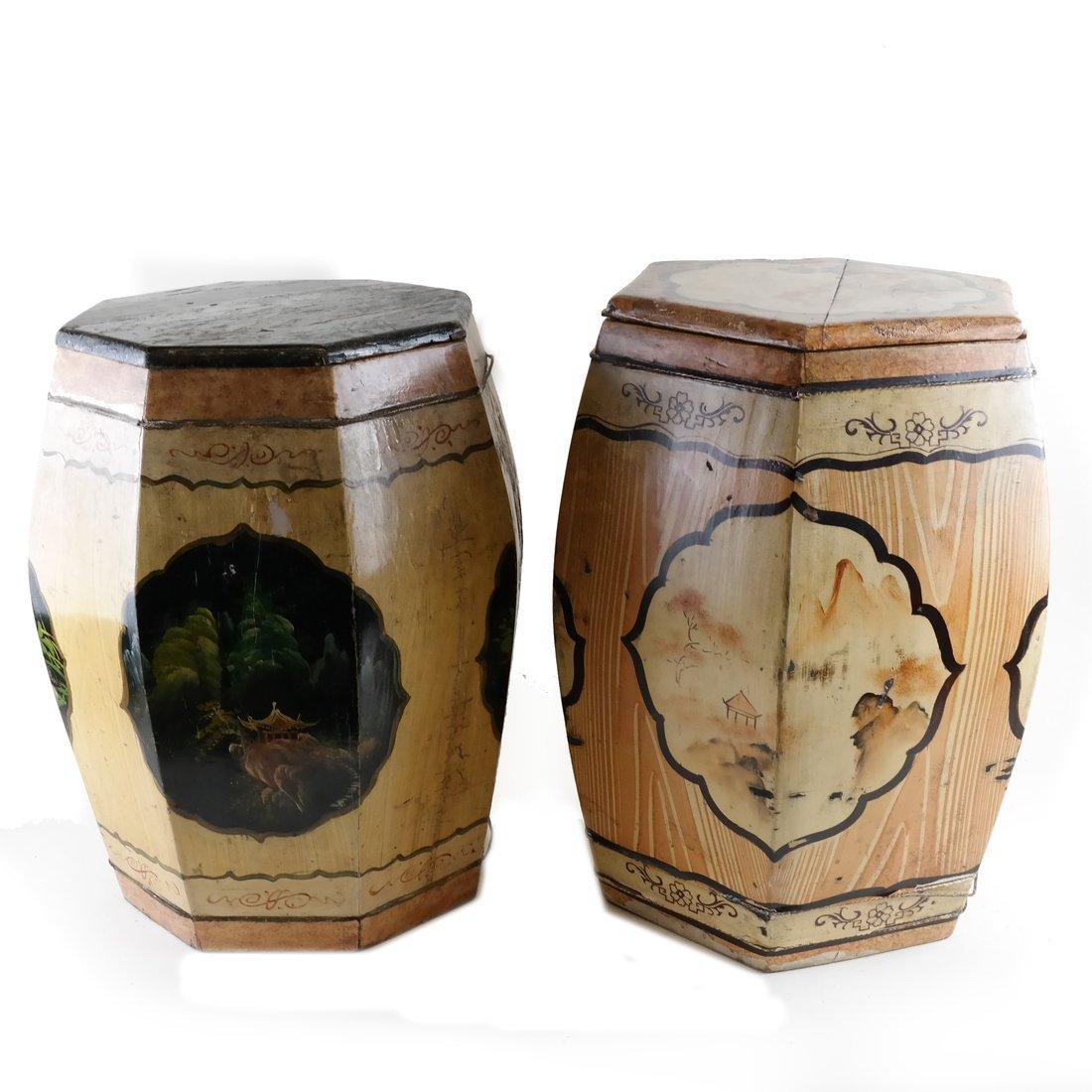 Pair of Octagonal Wood Garden Seats