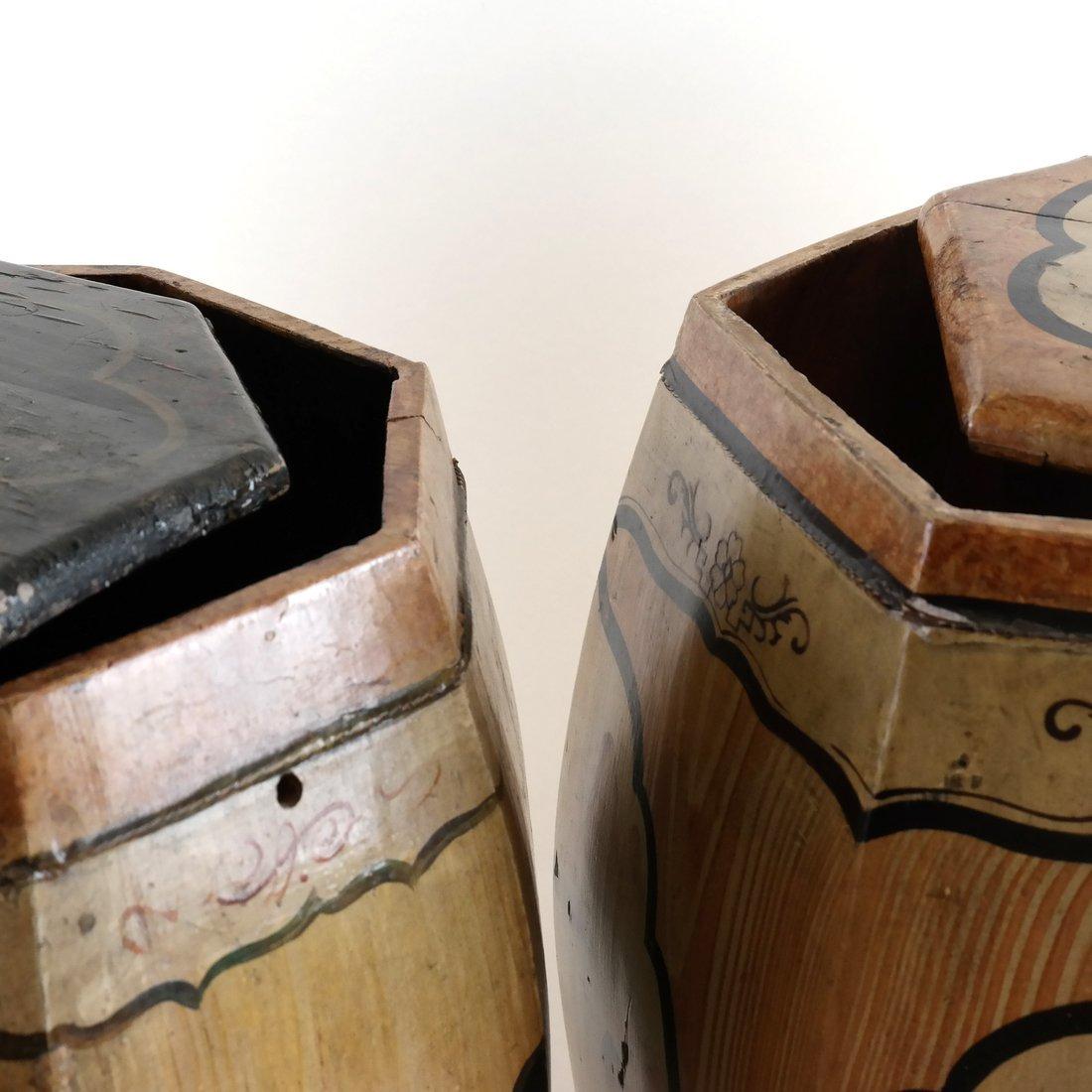 Pair of Octagonal Wood Garden Seats - 5