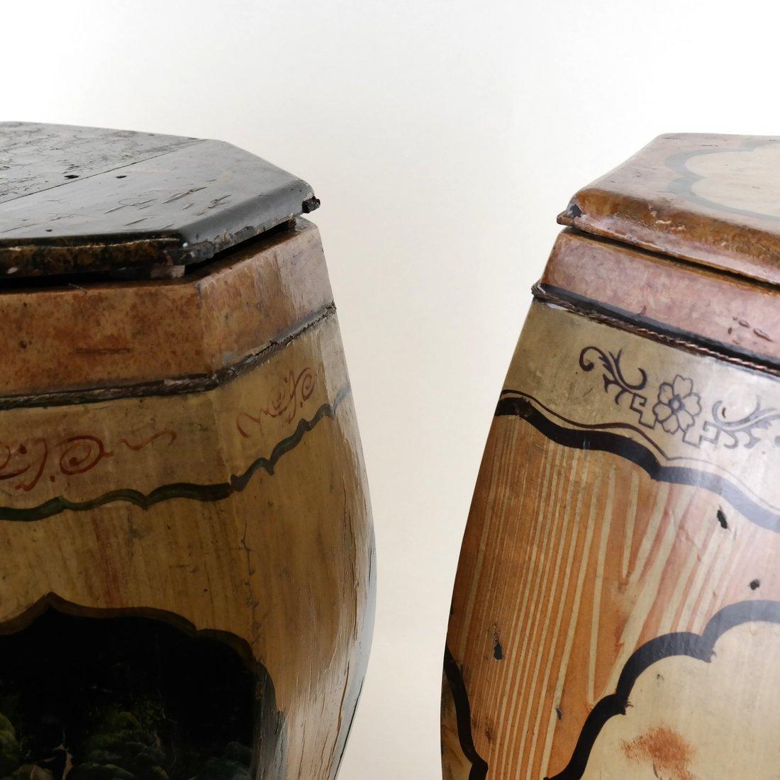 Pair of Octagonal Wood Garden Seats - 6