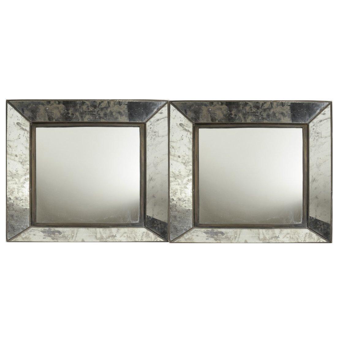 Pair of Metal Framed Mirrors