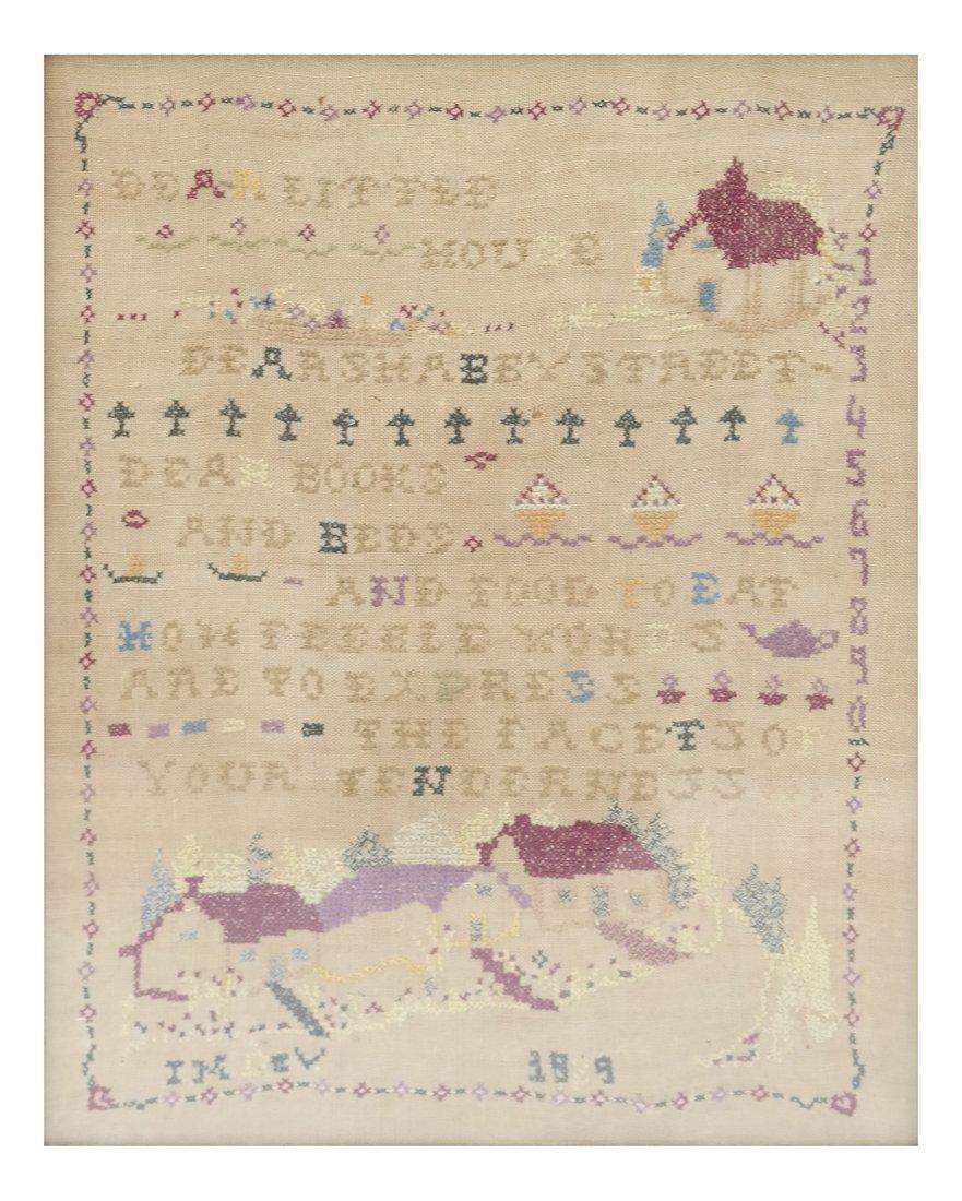 Framed Linen and Cotton Stitched Sampler