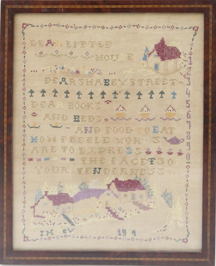 Framed Linen and Cotton Stitched Sampler - 2