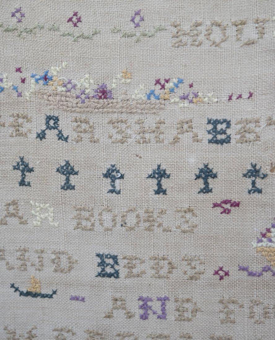 Framed Linen and Cotton Stitched Sampler - 3