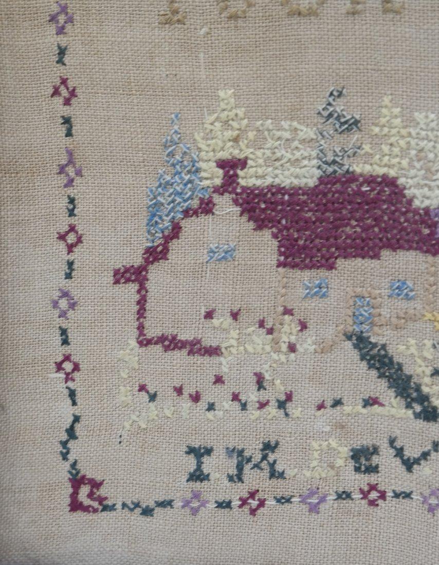 Framed Linen and Cotton Stitched Sampler - 4