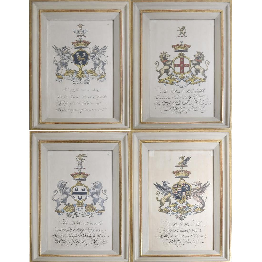 Set of Four Prints: Family Crests