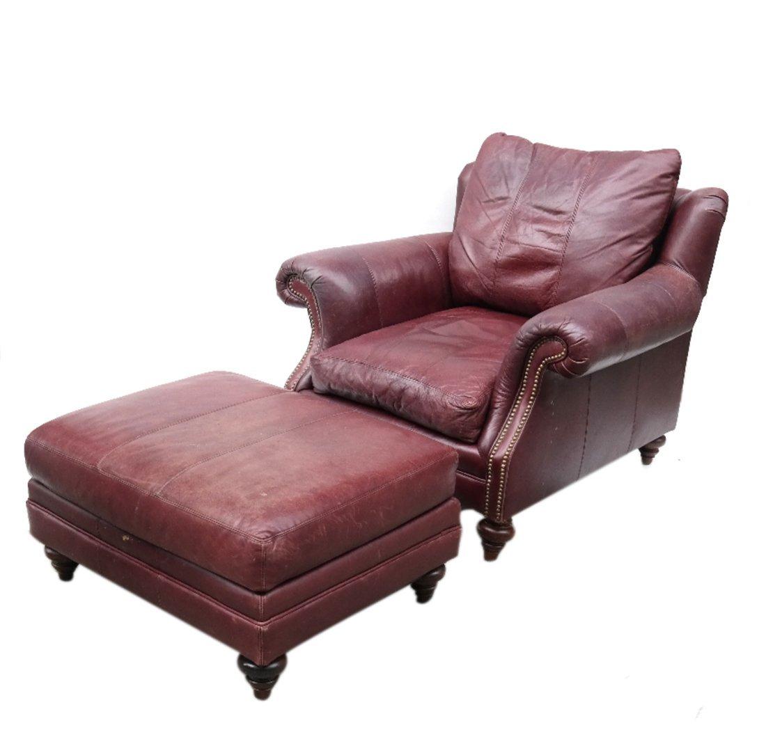 Burgundy Club Chair & Ottoman