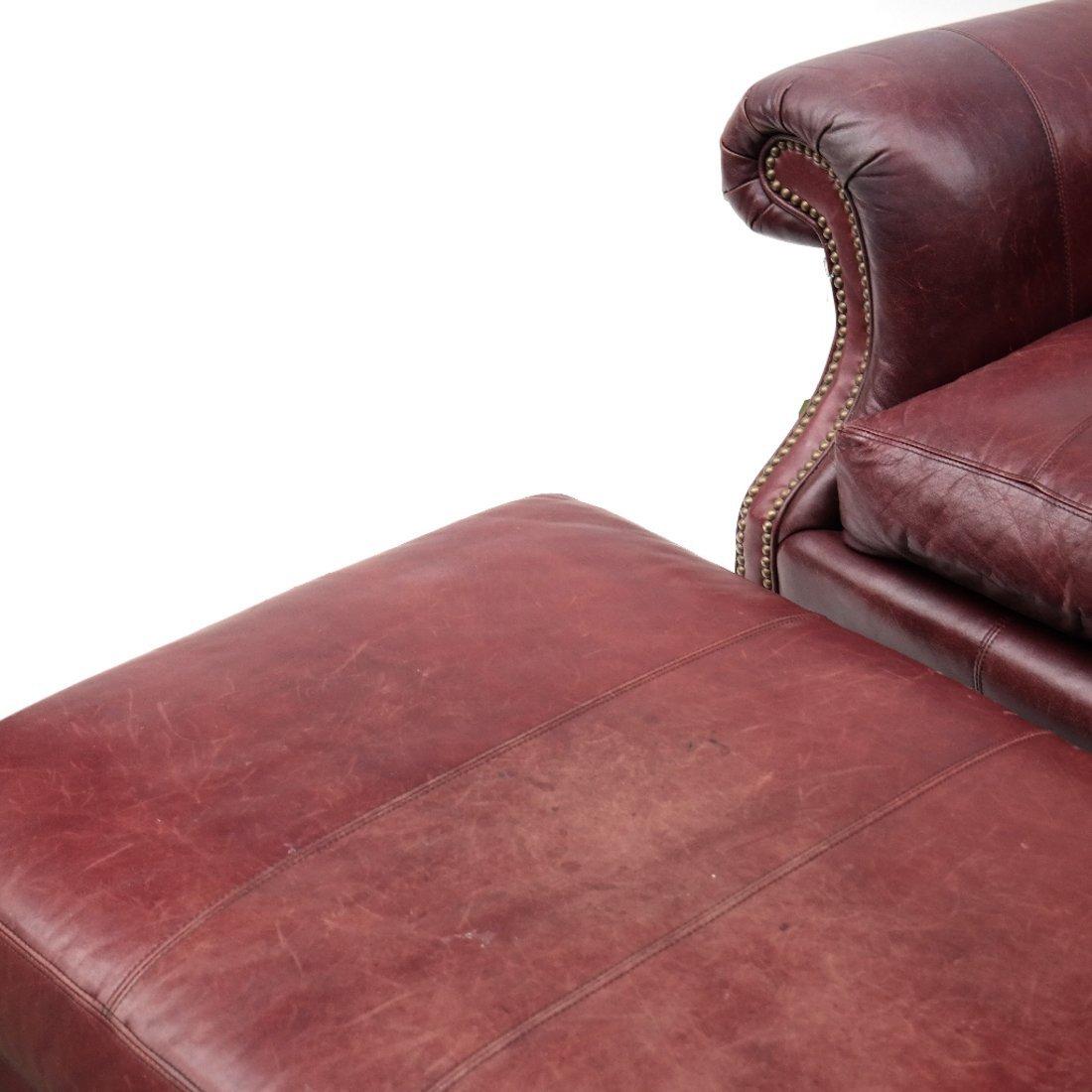 Burgundy Club Chair & Ottoman - 2