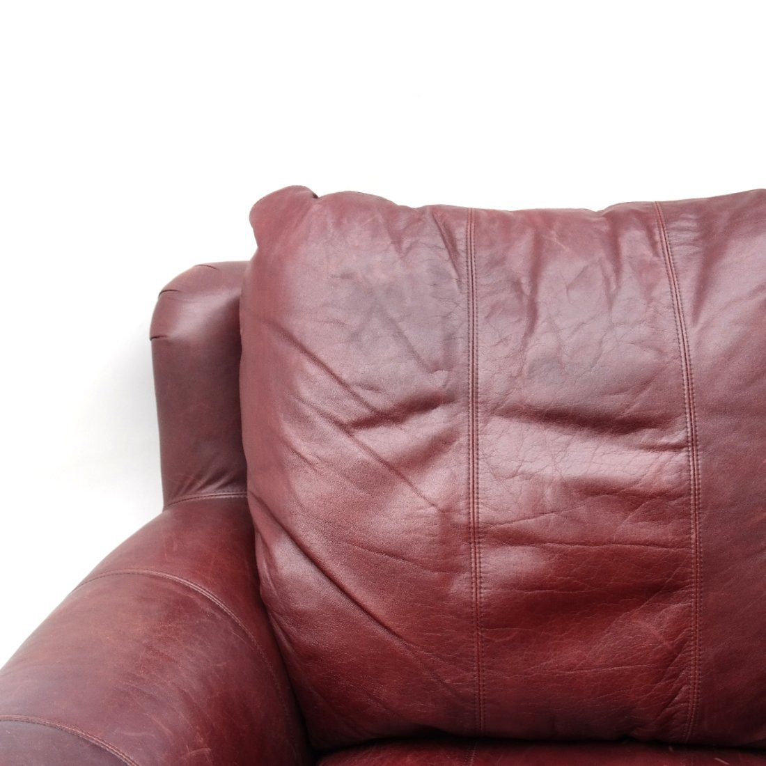 Burgundy Club Chair & Ottoman - 4
