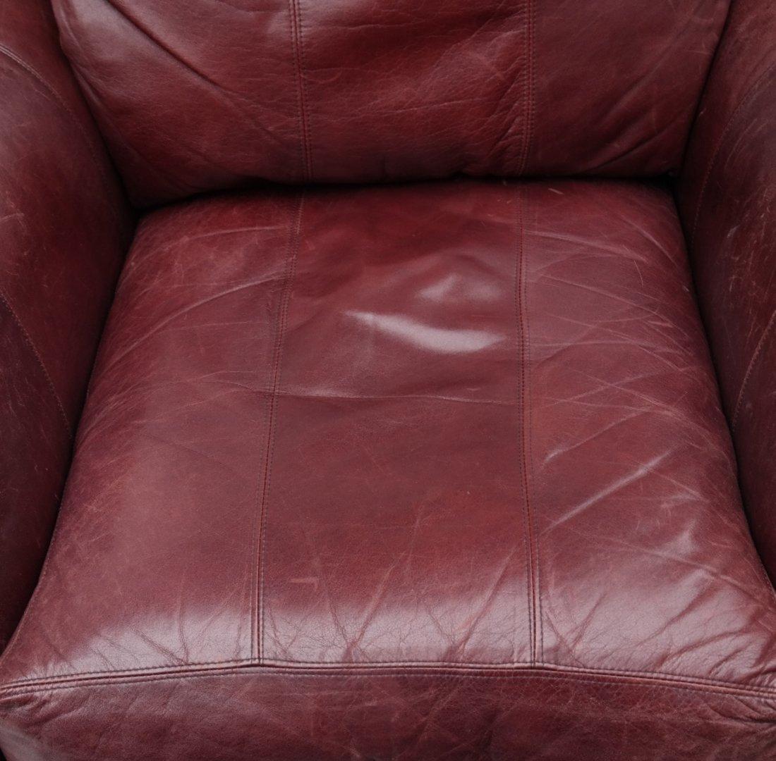 Burgundy Club Chair & Ottoman - 5