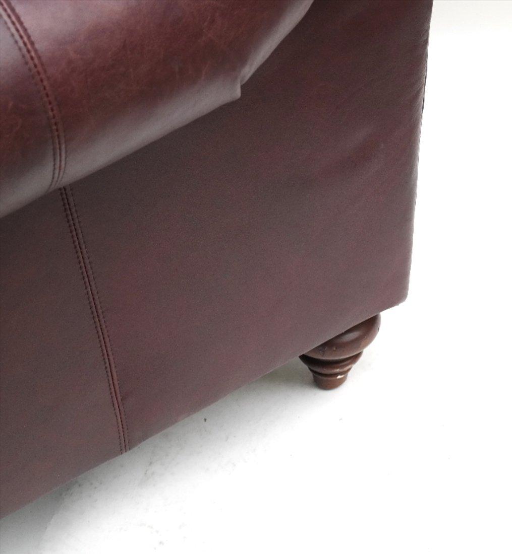 Burgundy Club Chair & Ottoman - 6