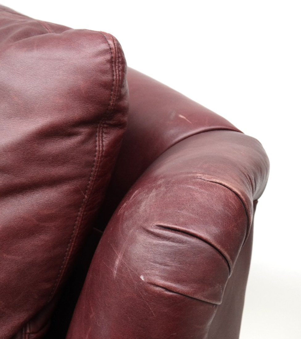 Burgundy Club Chair & Ottoman - 7
