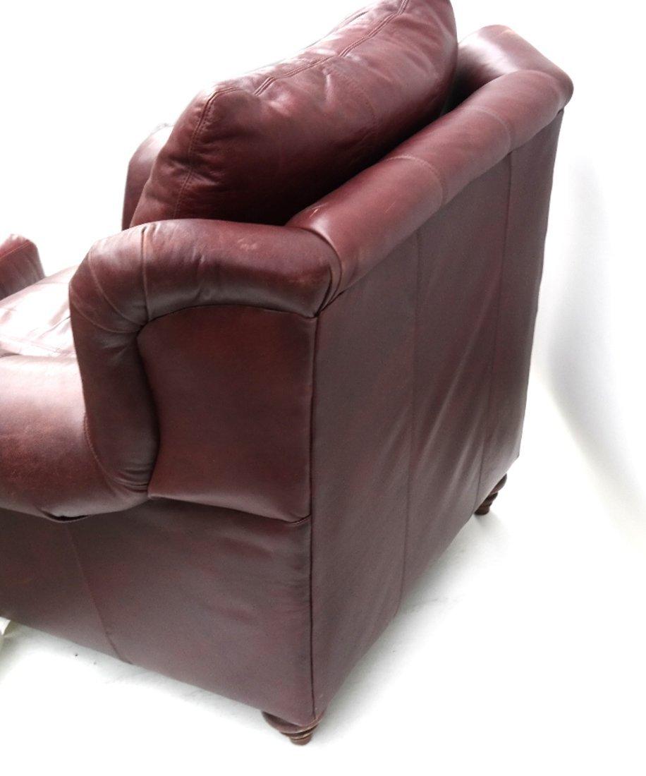 Burgundy Club Chair & Ottoman - 8
