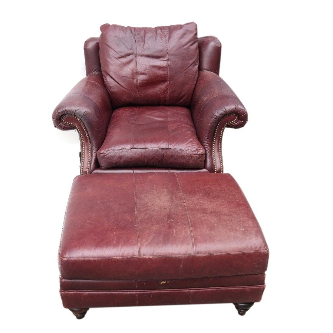 Burgundy Club Chair & Ottoman - 9