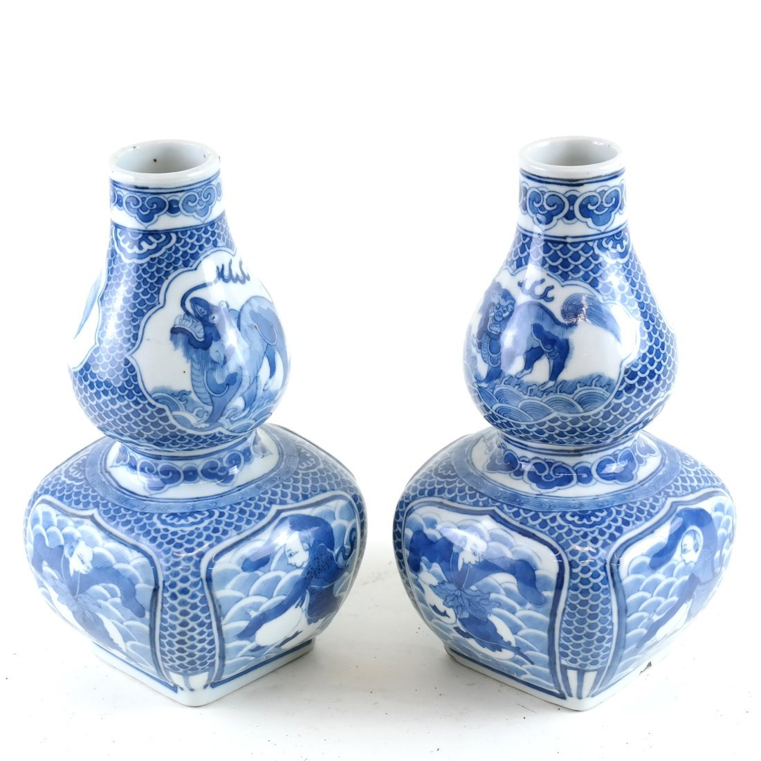 Pair of Asian-Style Blue & White Vases