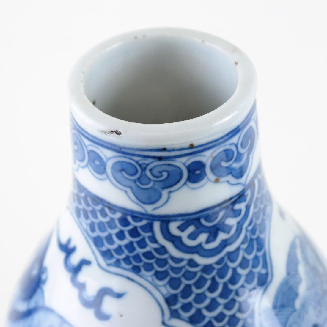 Pair of Asian-Style Blue & White Vases - 3