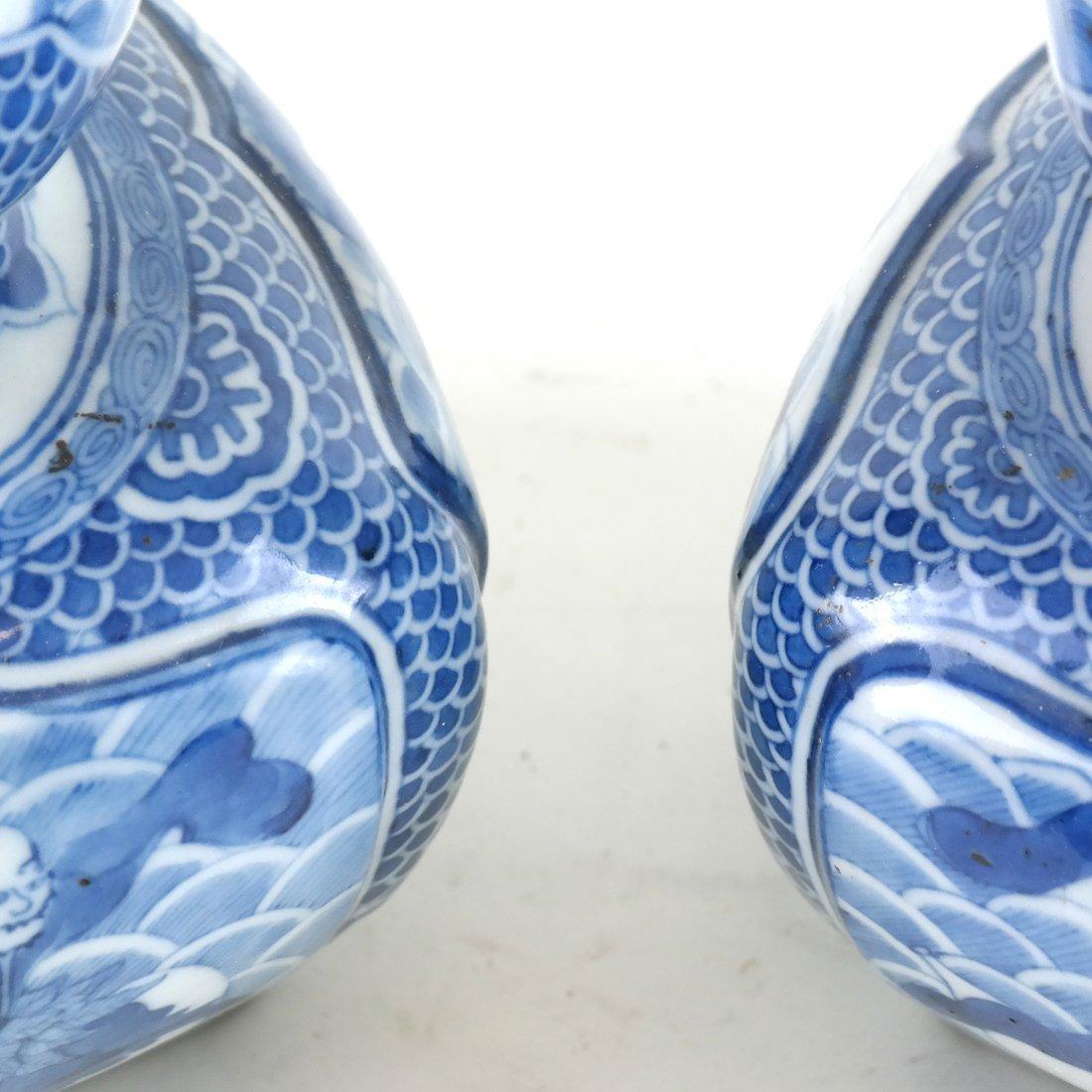 Pair of Asian-Style Blue & White Vases - 4