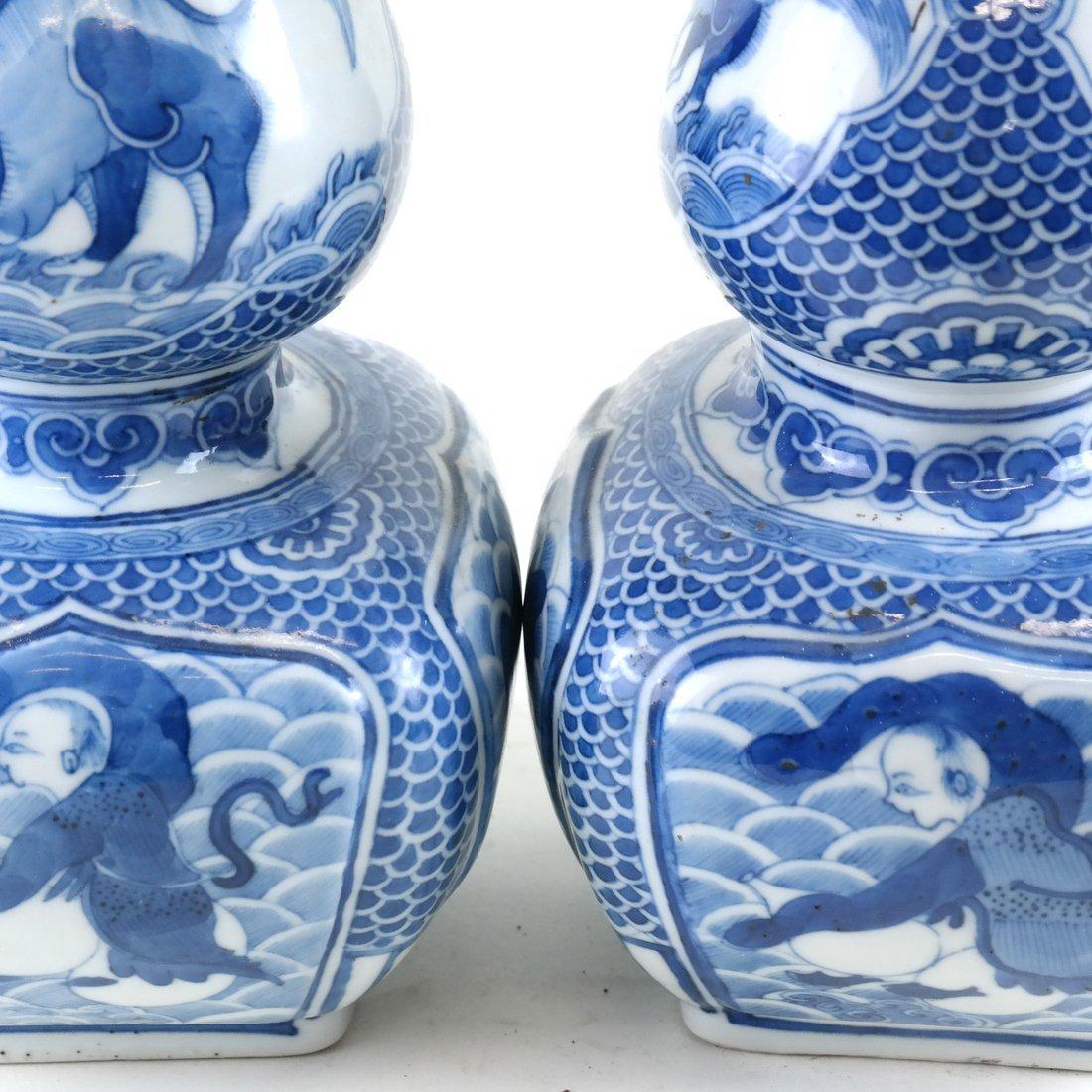 Pair of Asian-Style Blue & White Vases - 6