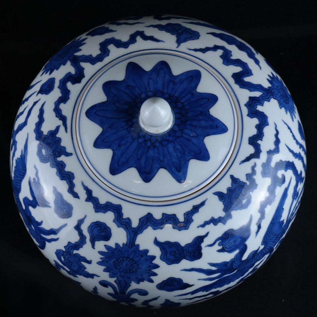 Asian-Style Blue & White Ginger Jar - 6